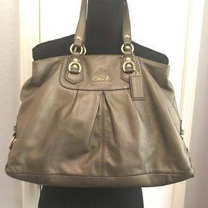 Coach Ashley Metallic GraySteel Leather bag F15513